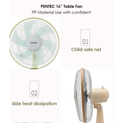 PENTEC Table Fan TAC-1601 400mm (16 inch) 3-Speed On/Off Table Fan (Random color)