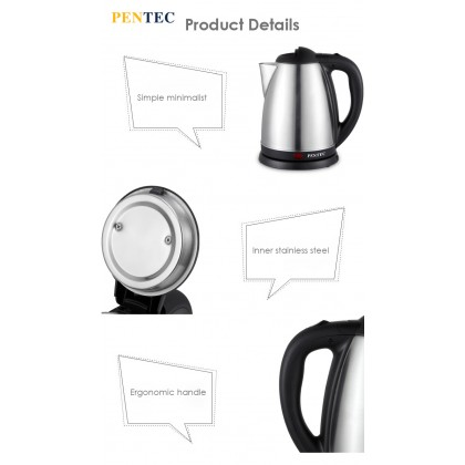PENTEC Electric Jug Kettle JK-16 Stainless Steel Body