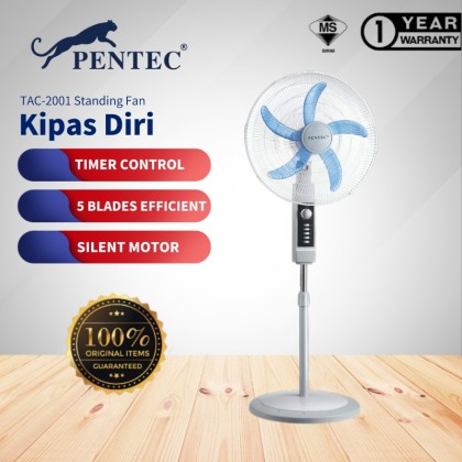 "PENTEC Grey Stand Fan 20"" TAC-2001 Mechanical Grey Fan With Timer"